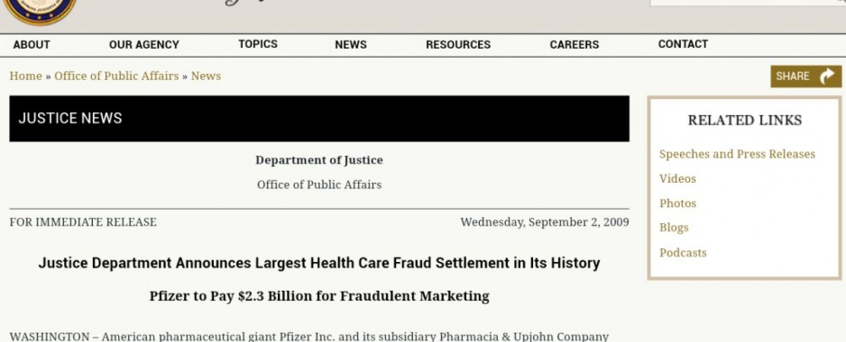 $2.3 billion in fines and a guilty plea/conviction for health care fraud provides ample cause for Canadians and Americans to not trust Pfizer-BioNtech vaccines