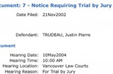 BC court document reveals Justin Trudeau has a record for a trial by jury court case