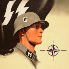 The Nazi SS identifying symbol can clearly be seen embedded in the NATO logo.