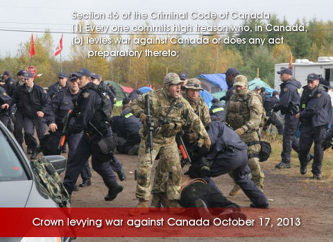 Crown soldiers levying war against Canada