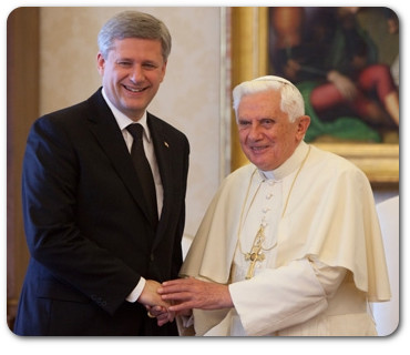 Evangelical Protestant Stephen Harper conspires with Catholic Mafia godfather